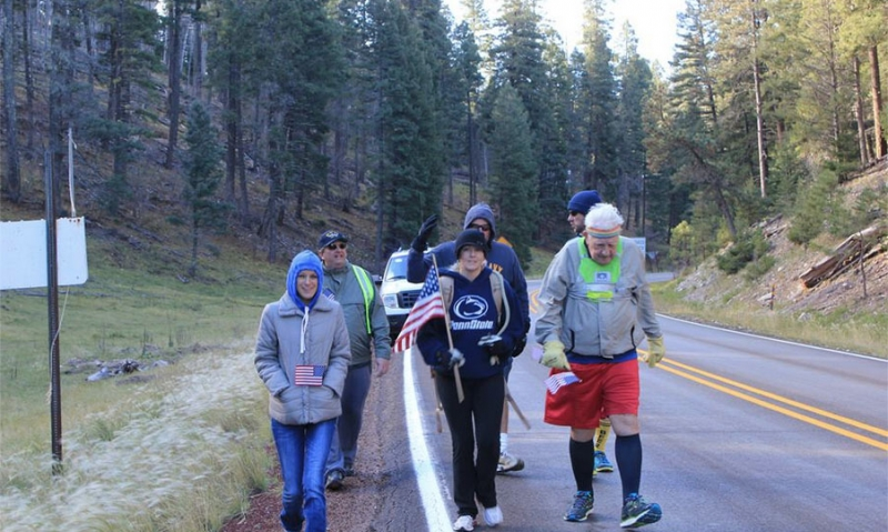 World War II veteran running across U.S.