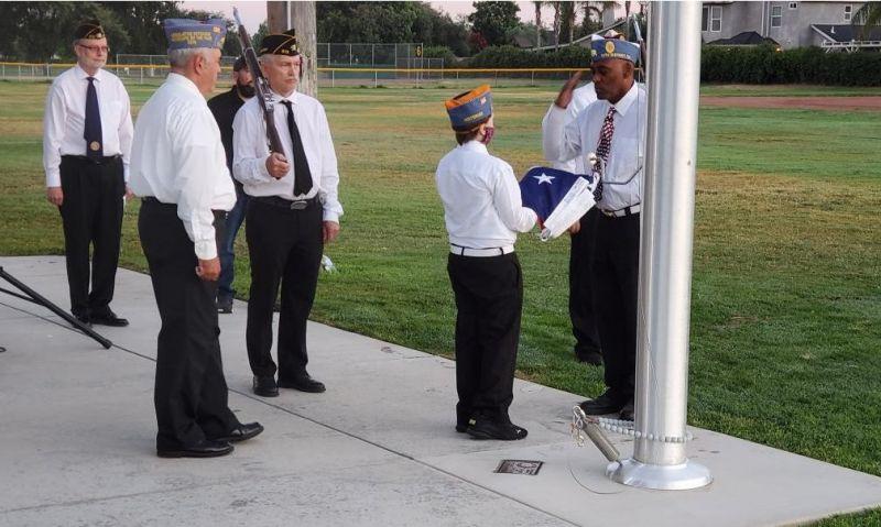 Sons participate in flag-raising ceremony