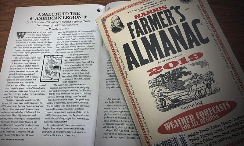 Legion centennial highlighted in 2019 Farmer's Almanac