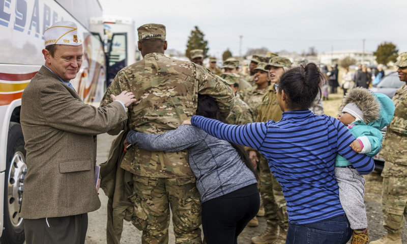 Legionnaires attend a sendoff for America's heroes