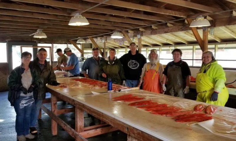 Seward Post 5 Legion Family prepares fresh Alaskan salmon for those in need