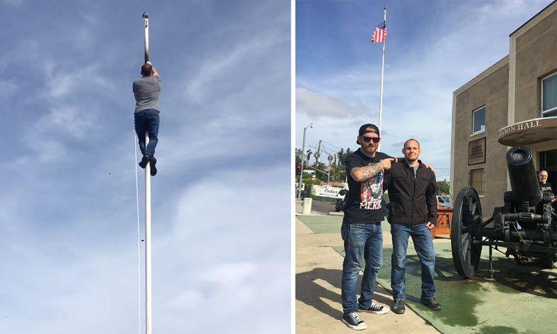 Civilian climbs 60-foot pole to replace burned flag at California post