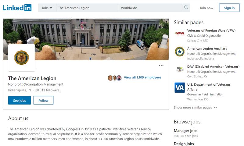 American Legion LinkedIn page hits 20K followers