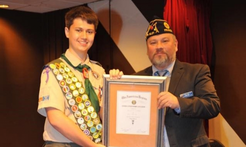 Good Citizenship Citation to Eagle Scout in Netherlands ceremony
