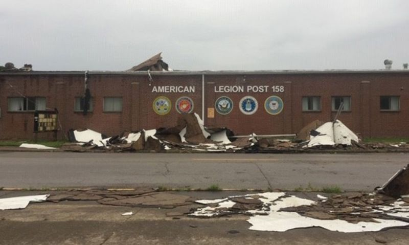 Severe storm tears off roof of centennial Legion post