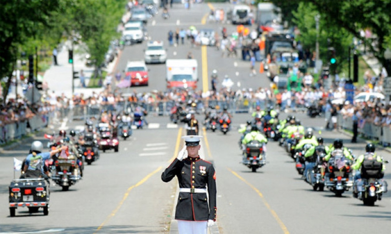 Riders preparing for Rolling Thunder