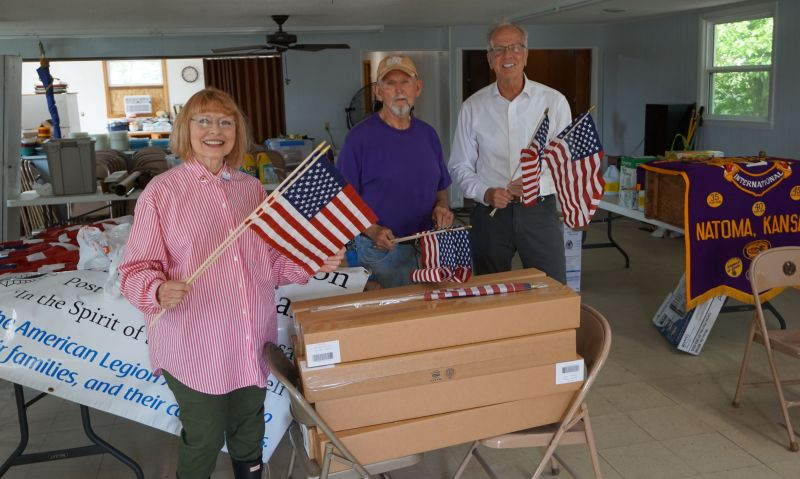 A special delivery of 300 American flags to Kansas post