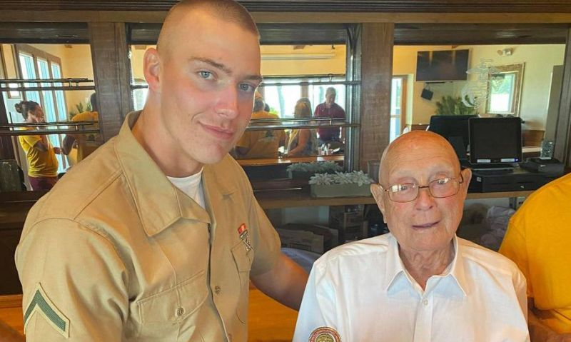 Medal of Honor recipient from Iwo Jima battle welcomes great-grandson into the Marines
