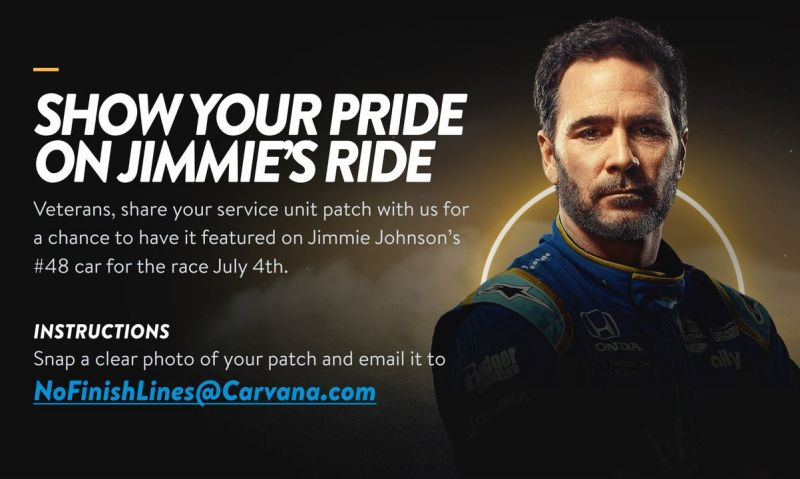 Jimmie Johnson wants to honor your military unit patch